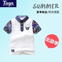 【满200-100】TAGA童装 2017夏季新款男童短袖T恤中大童POLO衫条纹T��男童装