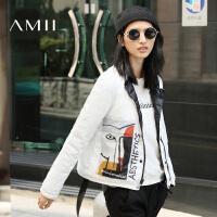 【AMII超级大牌日】[极简主义]2016冬装大码休闲两面穿修身轻薄立领羽绒服女短款
