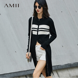 【预售】Amii2017春立领拉链条纹羊毛针织开衫修身外套11771343