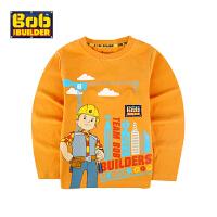 BOB童装巴布工程师春新款男童长袖纯棉打底衫卡通体恤男中童圆领t恤