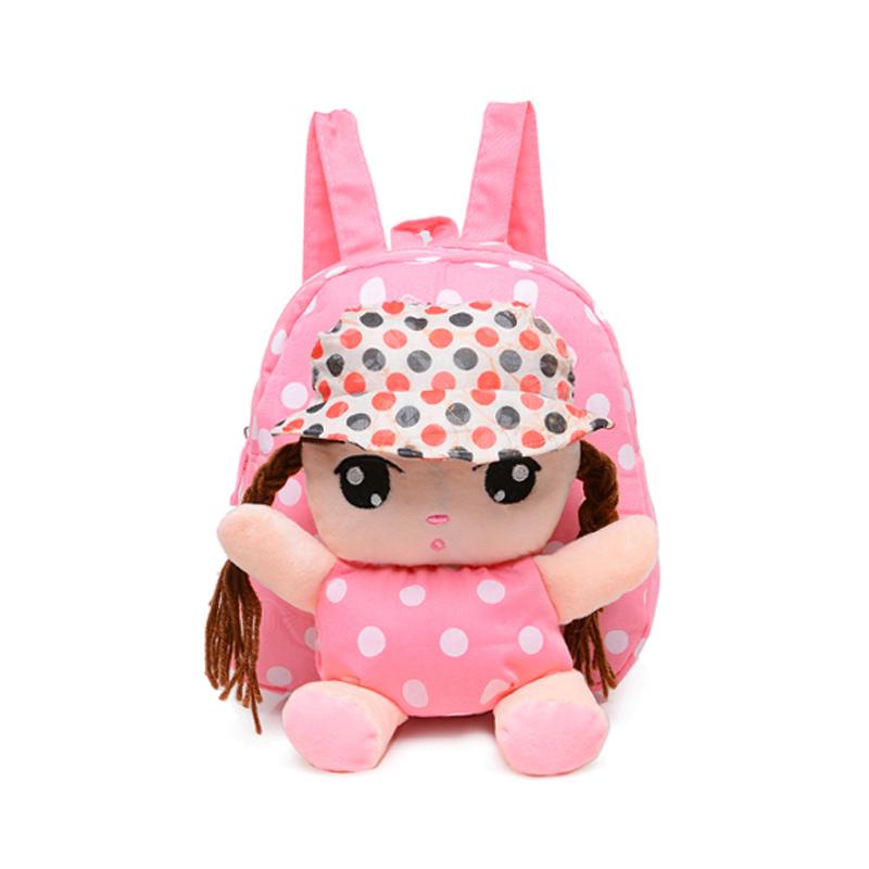 书包儿童背包可爱女童宝宝毛绒1-3岁小班卡通双肩包_毛绒书包 粉娃娃