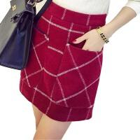 包臀裙高腰a字格子半身裙短裙秋季一步裙包裙毛呢冬