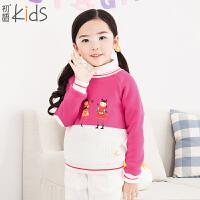 初语童装冬装女童卫衣拼接套头儿童卫衣T5405210022