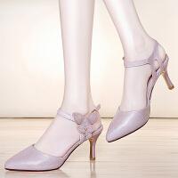 古奇天伦凉鞋女 2017新款夏季女鞋百搭韩版细跟性感一字带包头高跟鞋 8679