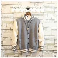 秋装新款时尚男士毛线衣服外套男装毛衣修身型拼色开衫针织衫青年