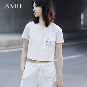 Amii[极简主义]2017春女新印花拼布短袖宽松大码短款T恤11771278