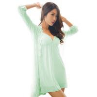 吊带带胸垫睡裙女士夏季性感睡衣夏天蕾丝诱惑情趣冰丝两件套