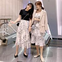 茉蒂菲莉 孕妇裙 女士圆领棉麻夏装新款韩版女装中长款休闲开衫长裙女式孕妇连衣裙子两件套装孕妇装