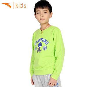 anta安踏童装 男童新款针织运动套头卫衣正品时尚卫衣T恤35618706