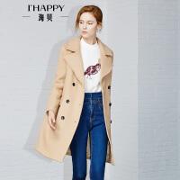 【11.25上新】海贝2016外套女冬韩版学生新款大翻领中长款毛呢加厚修身大衣外套