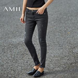 【预售】Amii2017春新修身磨破水洗撞钉毛边牛仔九分裤11780736