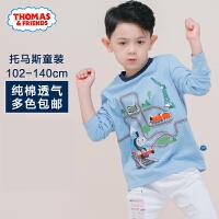 托马斯童装正版授权男童春新款长袖T恤中大童纯棉圆领打底衫卡通潮t恤托马斯和朋友