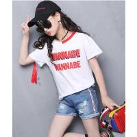 新款韩版时尚儿童字母短袖牛仔短裤两件套中大童女童套装夏装可礼品卡支付