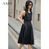 Amii[极简主义]2017夏新大码通勤无袖镂空拼接橡筋连衣裙11791407