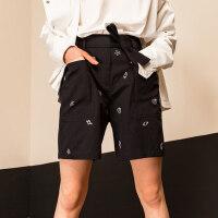 初语迪士尼海底总动员系列休闲裤女短裤 纯棉直筒裤女裤潮牌裤子