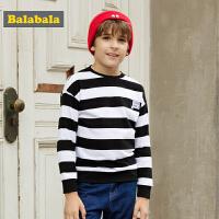 巴拉巴拉男童长袖T恤卫衣中大童秋装2017新款条纹印花圆领套头衫
