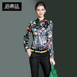 海青蓝2017春装新款通勤气质欧美衬衣时尚印花长袖修身衬衫女8435