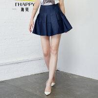 【4.12上新】海贝2017年夏季新款女装半身裙 时尚甜美高腰纯色褶皱A字显瘦短裙