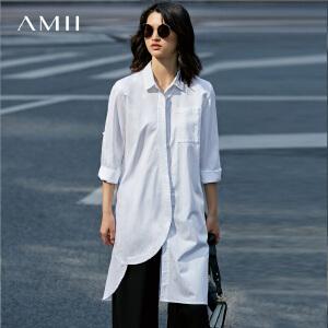 Amii[极简主义]2017春新不规则衣襟翻领纯色宽松长款衬衫11790306