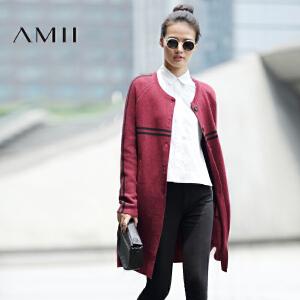 【AMII超级大牌日】[极简主义]2017年春撞色条纹立领中长款棒球衫大码针织毛衣外套