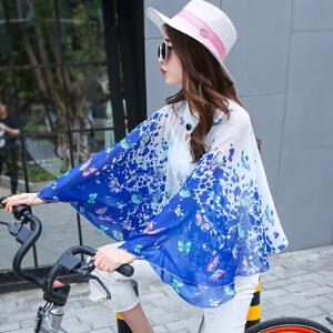 【当当年中庆】2017开车雪纺小披肩夏季长袖女丝巾骑车防紫外线空调衫防晒衣