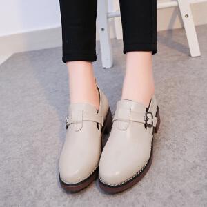 女单鞋2017春新款圆头深口高跟韩版百搭时尚职业上班粗跟低跟女鞋ZR-GA8