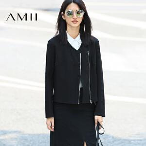 【AMII超级大牌日】[极简主义]2017年春新大码时尚V领分割拉链层次短外套11643204