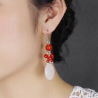 复古时尚白玉平安扣玛瑙 耳环古代古装耳坠民族风耳饰品