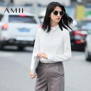 【AMII超级大牌日】[极简主义]2017年春女新款纯色百搭翻领长袖大码白衬衫11642130
