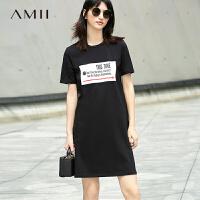 Amii[极简主义]2017夏新品百搭休闲字母印花T恤裙连衣裙11762563