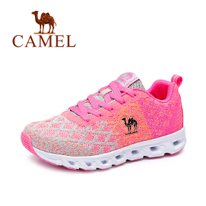 Camel/骆驼女鞋 2017春季新款 撞色时尚户外运动鞋系带飞织网面鞋