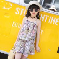 女童套装大童儿童装韩版清新短裤衣服女孩休闲吊带两件套