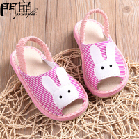 门扉 儿童拖鞋 男女童室内防滑家居小孩地板鞋1-7岁鞋子纯棉婴儿宝宝夏季拖鞋