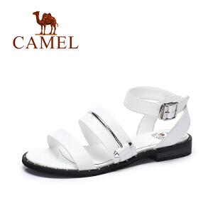 camel骆驼女鞋 2017夏季新款 休闲百搭低跟罗马凉鞋 皮带扣凉鞋