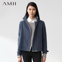 【AMII超级大牌日】[极简主义]2016冬装新款帅气宽松两片式落肩短款毛呢大衣女11480575