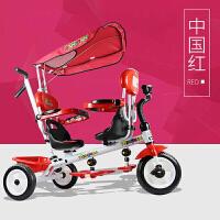 灿成儿童车三轮车双胞胎双人三轮车双座脚踏车婴儿手推车T021双座宝宝推车脚踏车