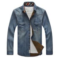 战地吉普AFS JEEP秋冬新款加绒牛仔衬衫 时尚休闲牛仔长袖衬衣男装