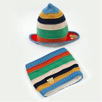 秋冬男女童帽子儿童帽子围巾两件套保暖加绒护耳