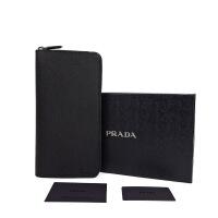 Prada普拉达男士黑色十字纹皮质全拉链大号钱包手包 2ML220 黑色 23x12x2cm