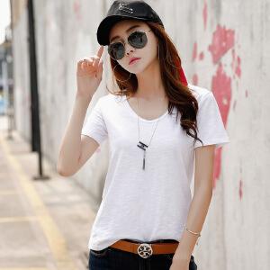 休闲竹节棉白色t恤女短袖夏装V领修身纯色半袖体恤女纯棉大码显瘦