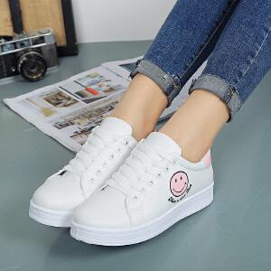 妃枫霏春季新款韩版时尚小白鞋女学生拼色单鞋浅口系带低帮运动板鞋