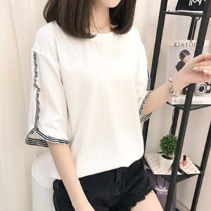 【当当年中庆】2017夏装韩版宽松五分袖时尚纯色拼接袖t恤学生