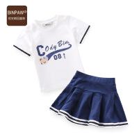 【200-100】binpaw女童套装夏季韩版女童学生服2017新款夏装运动休闲两件儿童套装