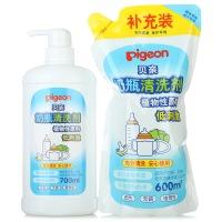 【当当自营】Pigeon贝亲 奶瓶清洗剂促销装700ml+600ml PL156 贝亲洗护喂养用品