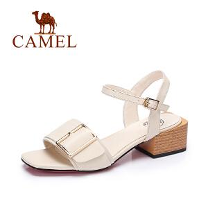 camel骆驼女鞋 夏季新品时尚方扣凉鞋 休闲百搭方跟凉鞋女