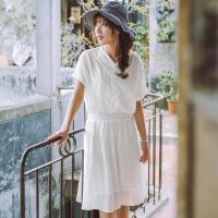 茵曼2017夏装新款纯色花边V领松紧腰蝙蝠袖连衣裙女【F1872102506】