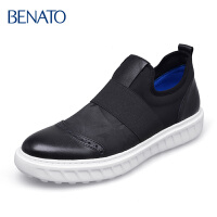 benato宾度男鞋平底套脚 休闲弹力户外布洛克牛皮 男皮鞋