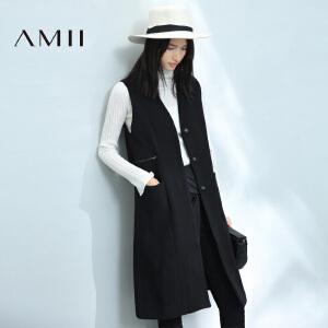 【AMII超级大牌日】2017年春女新纯色拉链装饰贴袋中长款马夹11693305