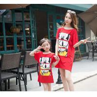 新款韩版夏季母女装夏装连衣裙亲子装t恤短袖中长款卡通露背可礼品卡支付