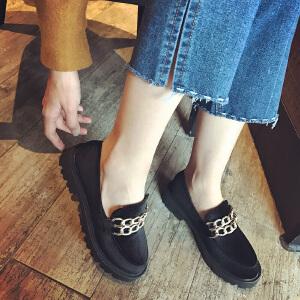 妃枫霏春季时尚中跟单鞋复古厚底休闲鞋简约套脚懒人鞋内增高女鞋